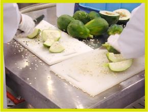 到着したパパイヤをさらに選別、未熟果のみを原料とします。